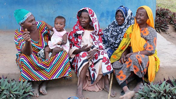 A group of women wait for their turn to be screened at a trachoma outreach camp in the Pwani region of eastern Tanzania.